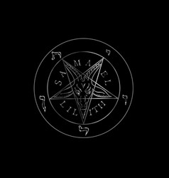 Wiccan symbol silver sigil baphomet- satanic vector