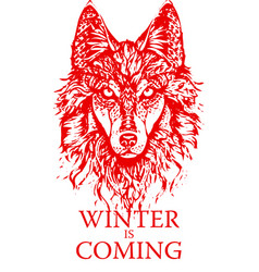 Winter is coming wolf vector