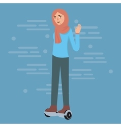 Young girl wearing hijab play hoverboard standing vector