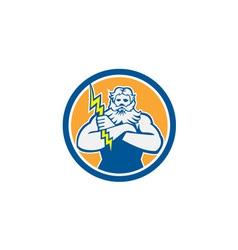 Zeus Greek God Arms Cross Thunderbollt Circle vector
