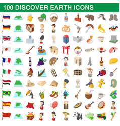 100 discover earth icons set cartoon style vector image