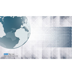 abstract binary code and world vector image vector image
