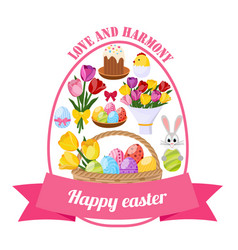 Easter day icons set vector