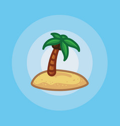 icon palm tree on beach in sand vector image