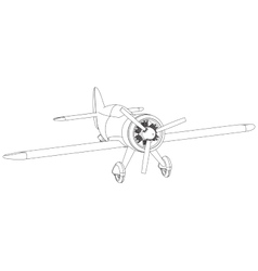 isolated propeller plane drawing vector image vector image