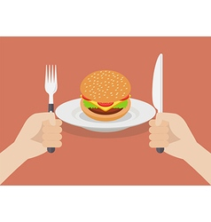 Knife and fork cutlery in hands with burger vector image vector image