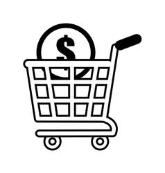 shopping cart online coin dollar outline vector image