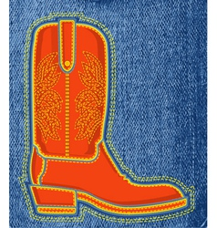 Cowboy shoe on blue jeans background boot symbol vector image vector image