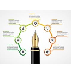 Education ink pen option Infographics design vector image