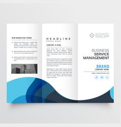 elegant trifold brochure design with blue wave vector image