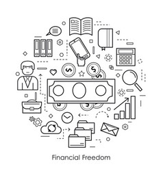 financial freedom - round black and white concept vector image