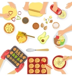 People Cooking Sweet Pastry And Other vector image vector image