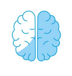Silhouette creative brain with idea over white vector