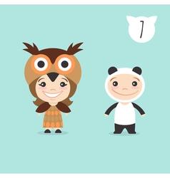 two happy cute kids characters Boy in panda vector image vector image