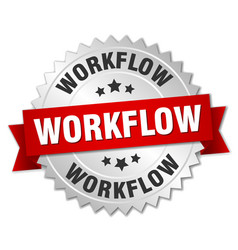 workflow round isolated silver badge vector image