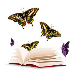 butterfly and open book background image vector image
