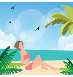 girl woman pose at beach sand sun tanning wearing vector image vector image