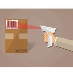 hand is scanning a box with barcode vector image