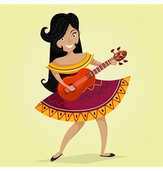 mexican woman playing the guitar vector image