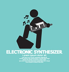 Musician Playing An Electronic Synthesizer vector image vector image