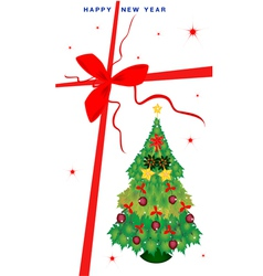 New Year Gift Card with Christmas Tree vector image