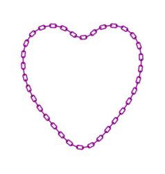 Purple chain in shape of heart vector