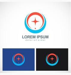 round circle star shine logo vector image
