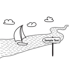 Sailboat floats on the river sketch vector