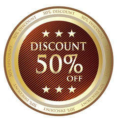 Fifty Percent Discount Gold Label vector image