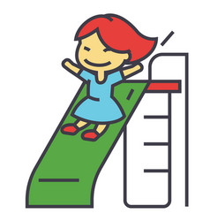 Girl on children slide playing kid kindergarten vector