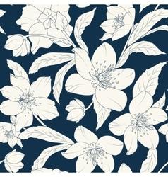 Hellebore floral foliage pattern white indigo blue vector image vector image