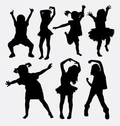 Kid little girl dancing silhouettes vector