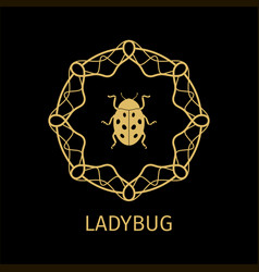 ladybug in calligraphy framework label vector image