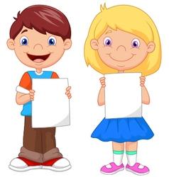 Little kids holding blank paper vector image