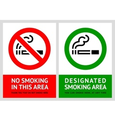 No smoking and Smoking area labels - Set 9 vector image vector image