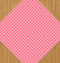 Pink Checkered Tablecloth on Brown Oak Wooden vector image vector image