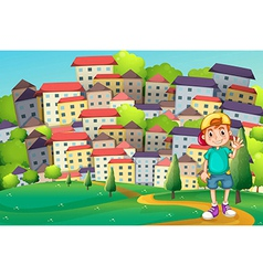 A young boy standing at the hilltop across vector