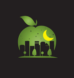 apple city negative space style vector image