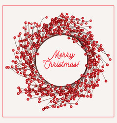 awesome christmas wreath with berries vector image