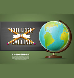 Back to college banner template globe chalkboard vector