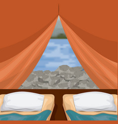 Background interior camping tent with double pad vector