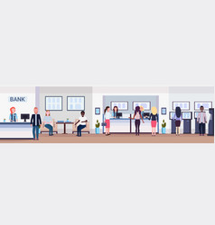 banking visitors and workers financial consulting vector image