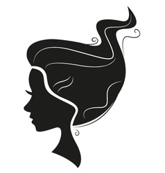 Beautiful black hair silhouette isolated on white vector image