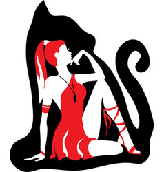 Beautiful girl like a cat wild woman concept vector