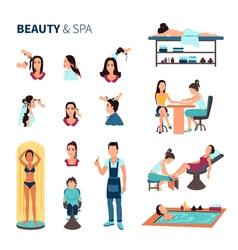 Beauty salon spa set vector
