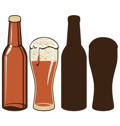 Beer bottle and glas vector