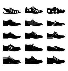Black footwear icon set boots sniekers signs vector