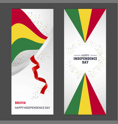 Bolivia happy independence day confetti vector