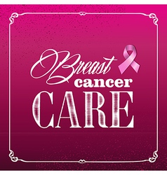 Breast cancer awareness ribbon vintage frame vector