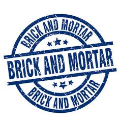 Brick and mortar blue round grunge stamp vector